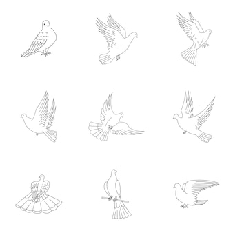 Dove vector set. simple dove shape illustration, editable elements, can be used in logo design