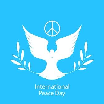 올리브 가지와 비둘기. 국가 평화의 날 카드.