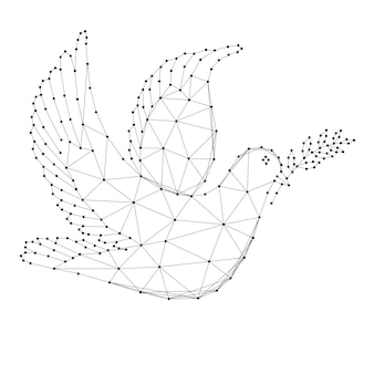 Dove with branch - symbol of international day of peace, from abstract futuristic polygonal black lines and dots.