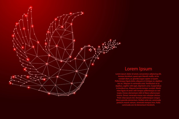 Dove with branch - symbol of international day of peace, from futuristic polygonal red lines and glowing stars