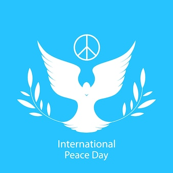 Dove with an olive branch. national day of peace card.