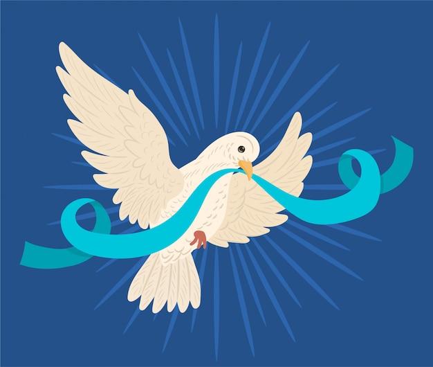 国際平和デーのリボン付き鳩