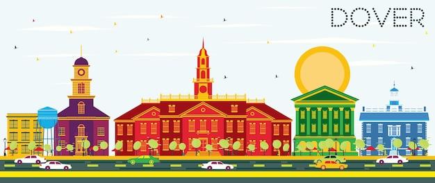 컬러 건물과 푸른 하늘이 있는 도버 스카이라인. 벡터 일러스트 레이 션. 역사적인 건물과 비즈니스 여행 및 관광 개념입니다. 프레젠테이션 배너 현수막 및 웹사이트용 이미지.