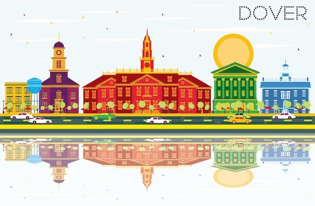 색상 건물, 푸른 하늘 및 반사와 도버 스카이 라인. 벡터 일러스트 레이 션. 역사적인 건물과 비즈니스 여행 및 관광 개념입니다. 프레젠테이션 배너 현수막 및 웹사이트용 이미지.
