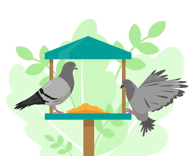 Doves on the bird feeder. vector illustration.
