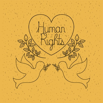 Doves flying with heart human rights drawns