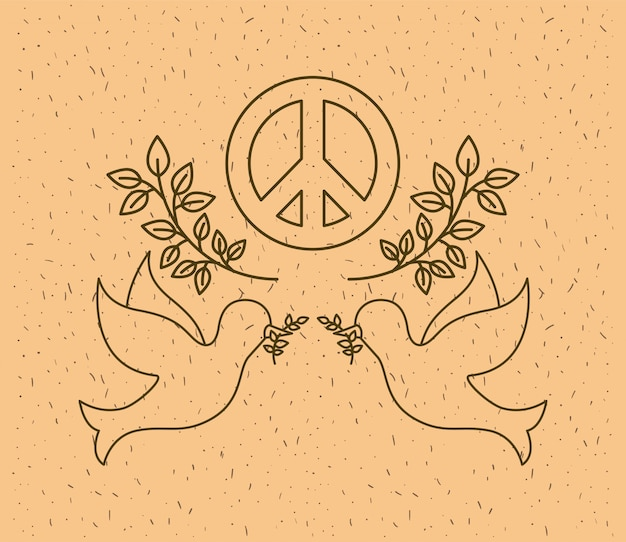 Doves flying with world peace symbol