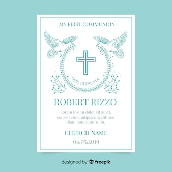 Doves holding wreath first communion invitation