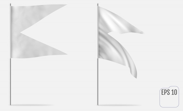 Dovetail 또는 swallowtail 수평 목업 깃발. 플래그, 페넌트 또는 배너 화이트 현실적인 템플릿. 바람 속에서 자랍니다.