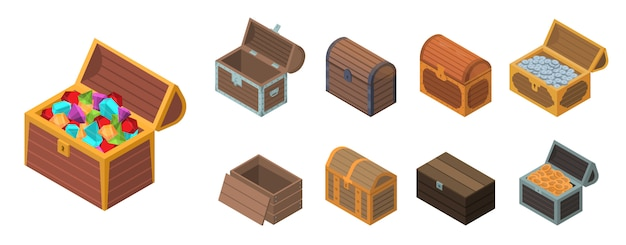 Dower chest icon set, isometric style