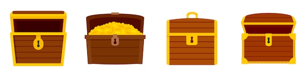 Dower chest icon set