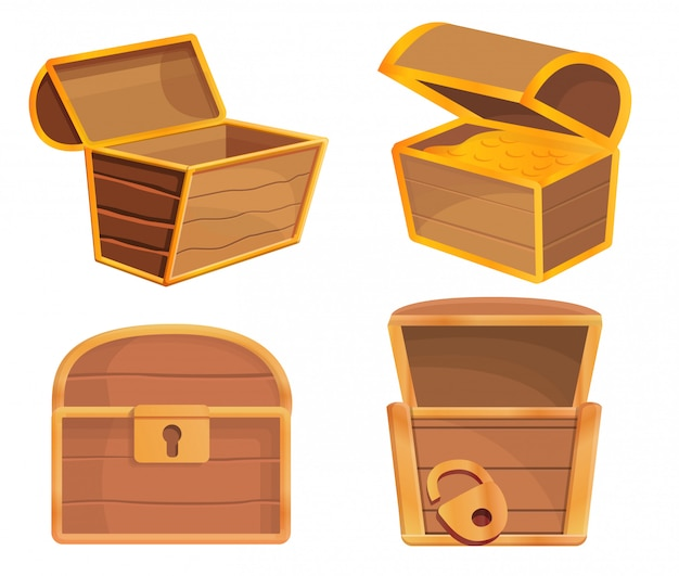 Dower chest icons set, cartoon style