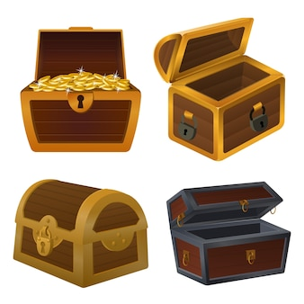 Dower chest illustrations set. cartoon