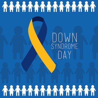 Down syndrome day blue and yellow ribbon people background