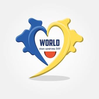 黄色と青の心臓アイコンを持つダウン症候群の日のデザイン