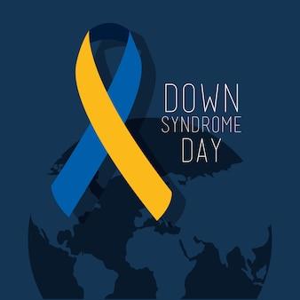 ダウン症候群の日の地図世界のリボンキャンペーン