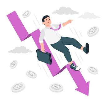 Illustrazione del concetto di caduta