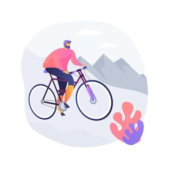 下り坂の抽象的な概念のベクトル図です。マウンテンフリーライド、エクストリームスポーツ、フォレストトラック、ホリデーアドベンチャー、サイクルコンテスト、アクティブライフスタイル、ヒルライド、スピードバイクの抽象的な比喩。