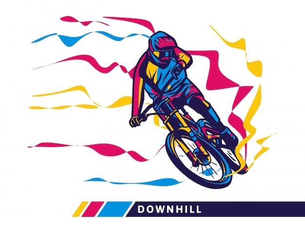 Downhill mountain bike motion illustration