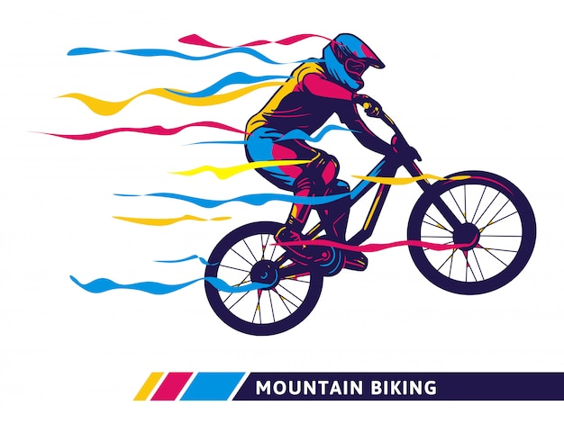 Downhill mountain bike motion illustration
