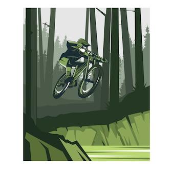 녹색 숲에 내리막