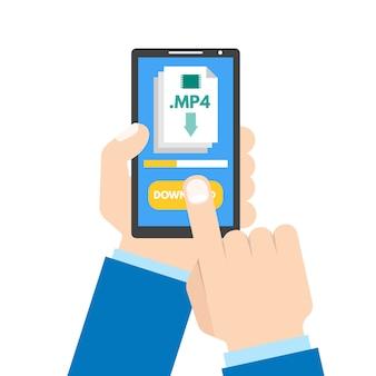 Download app concept. smartphone in hand.