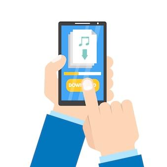 Скачать концепцию приложения. смартфон в руки.