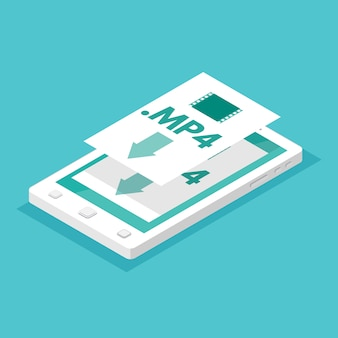 Download app concept. smartphone isometric.