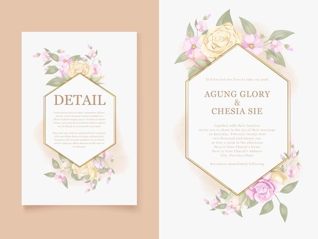 バラの花と美しい結婚式の招待カードをダウンロード