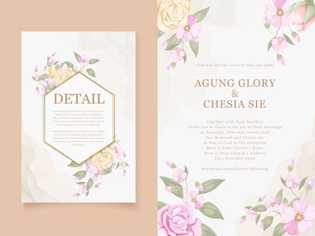 バラと葉の美しい結婚式の招待カードをダウンロード
