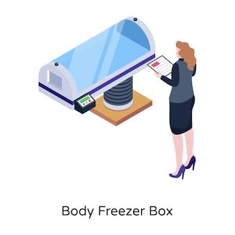アイソメトリックデザインのボディフリーザーボックスをダウンロード