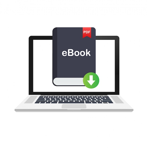 Download book. e-book marketing, content marketing, ebook download on laptop.  illustration.
