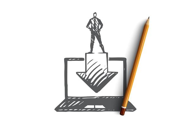 Скачать, кнопка, интернет, компьютер, концепция технологии. ручной обращается ноутбук и эскиз концепции процесса загрузки.