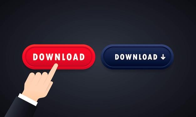 다운로드 버튼 세트. 모바일 앱의 경우 웹사이트. 격리 된 배경에 벡터입니다. eps 10.