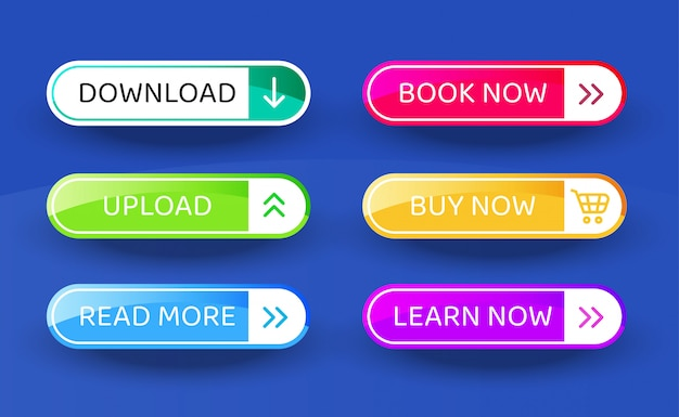 Download button, set of vector modern material style buttons. different gradient colors and icons.