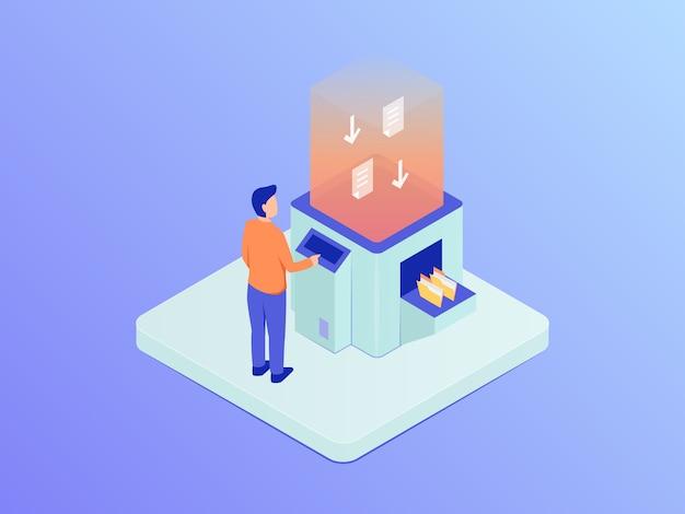 Скачайте концепцию данных с человеком, загружающим папку документов на компьютер машины