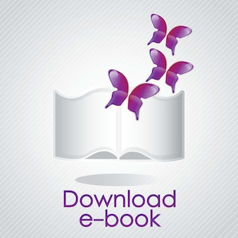 Download ebook concept with butterfly vector illustrator