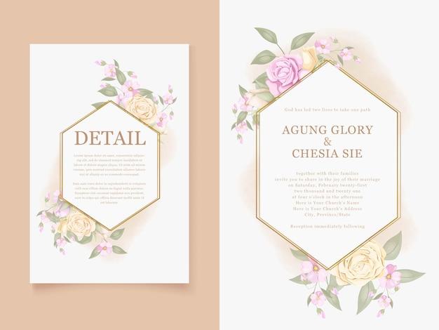 エレガントな結婚式の招待カードのテンプレートデザインをダウンロード