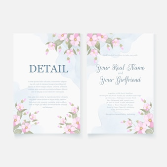 エレガントな結婚式の招待状のテンプレートデザインをダウンロード