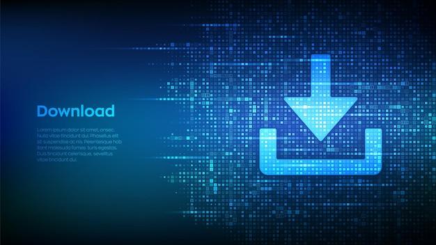 바이너리 코드로 만든 다운로드 아이콘 다운로드 cloed data storage 설치 기호