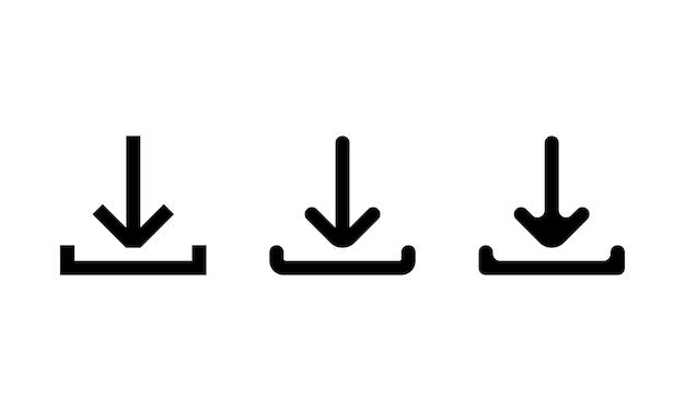 검은색으로 설정된 다운로드 아이콘. 벡터 eps 10입니다. 흰색 배경에 고립.