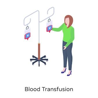 Download isometric illustration of blood transfusion