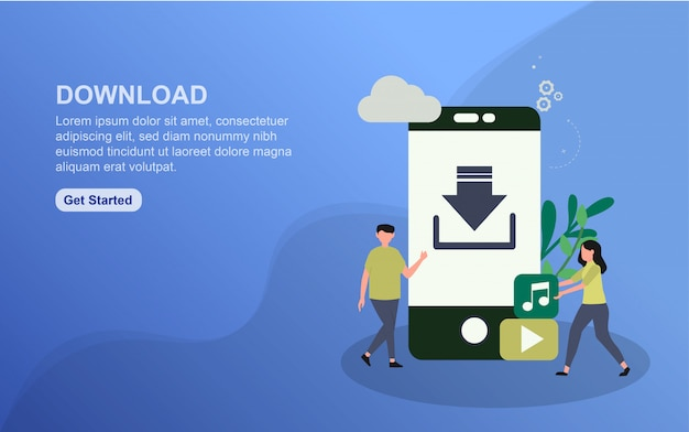 Download landing page template. flat design concept of web page design for website.