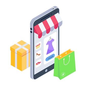 Скачать изометрическую иконку мобильного магазина с премиум-предложением
