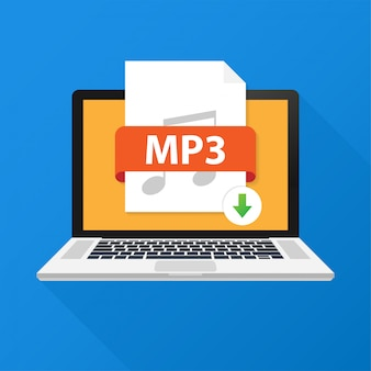 Download mp3 button on laptop screen. downloading document concept. file with mp3 label and down arrow sign. vector illustration.