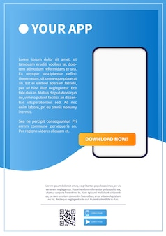 Download page of the mobile app advertising space for your application web banner modern design
