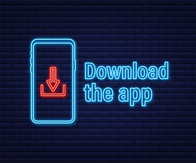 Download page of the mobile app. empty screen smartphone for you app. download app neon icon