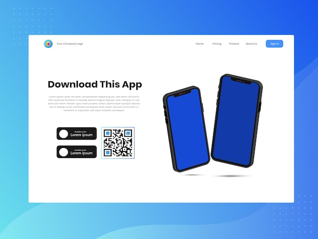 Download page of the mobile app with empty screen smartphone and download store buttons