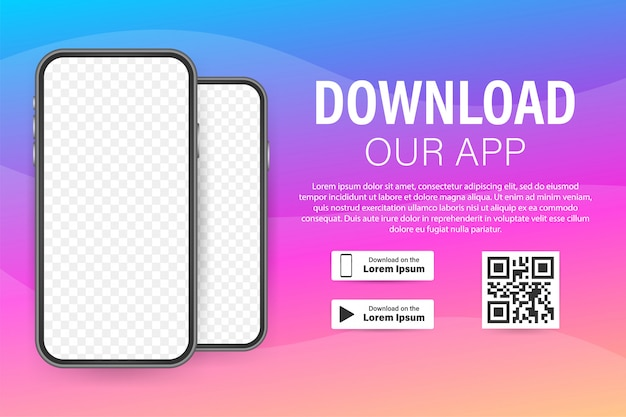모바일 앱의 다운로드 페이지. 당신을 위해 빈 화면 스마트 폰 앱. 앱을 다운로드하십시오. 재고 일러스트