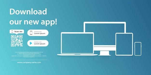 モバイルアプリのダウンロードページ。スマートフォンのタブレットとコンピューターの画面上のアプリケーションのシンプルな空白のバナー。ダウンロードアプリのデバイスアイコンのモックアップ。ダウンロードボタン